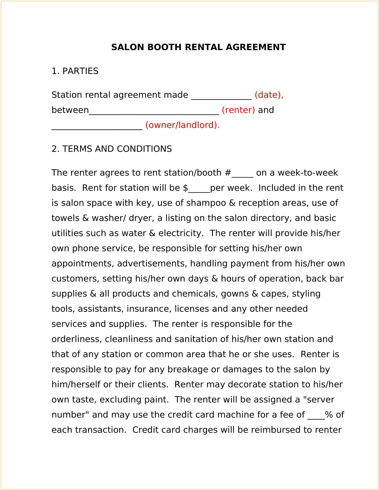 Salon Booth Lease Agreement Template Word Doc