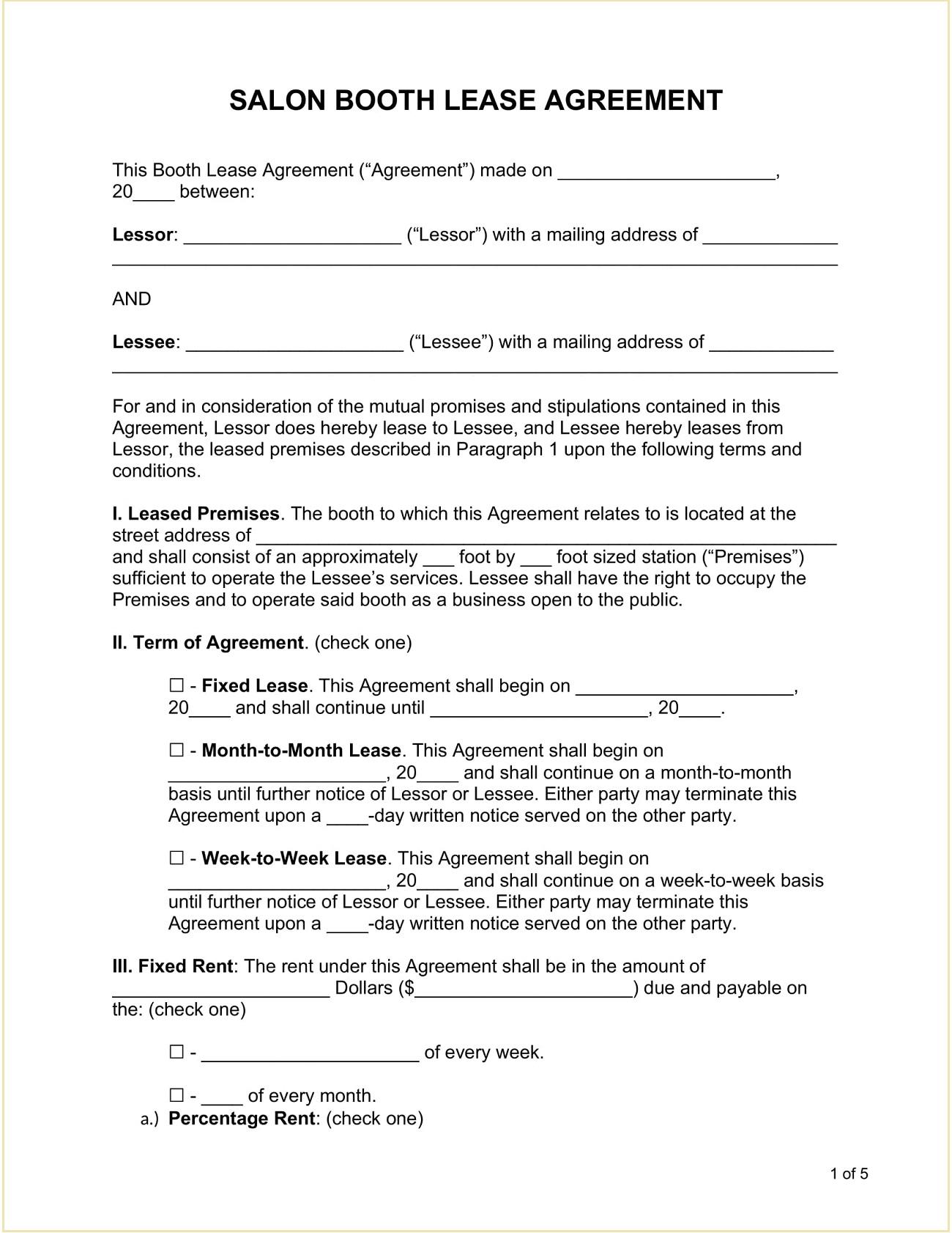 Salon Booth Rental Agreement Template Word