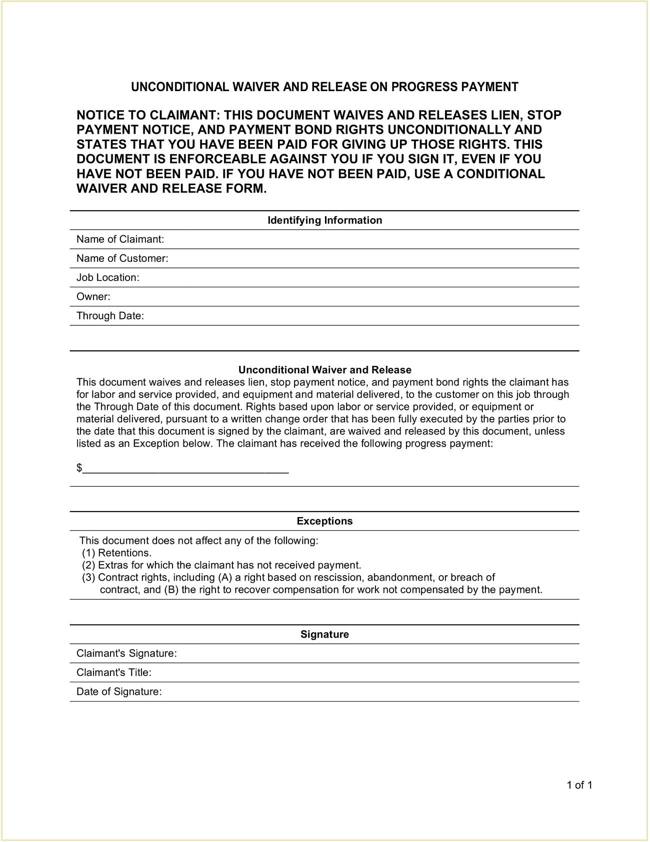 Unconditional Contractor Mechanic Lien Release Form Template PDF