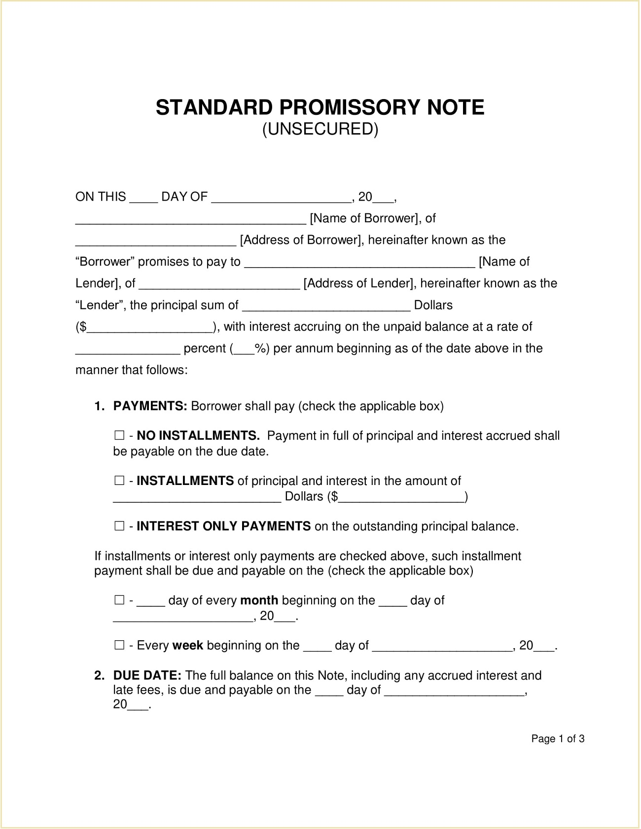 Unsecured Promissory Note Template PDF