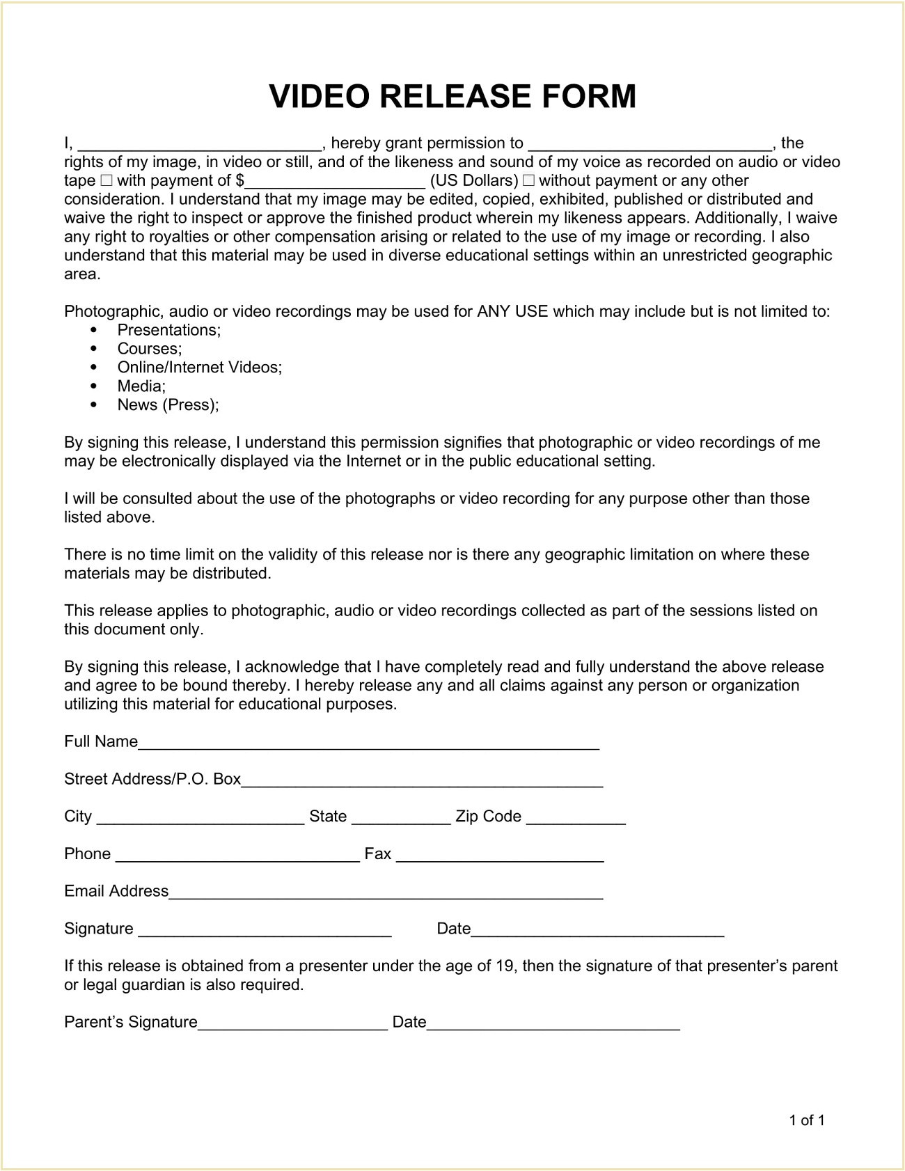 Video Release Form Template Word