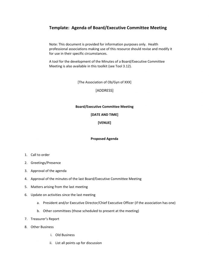 Agenda Board Executive Committee Meeting Template PDF Agenda Committee Meeting Agenda Template Example
