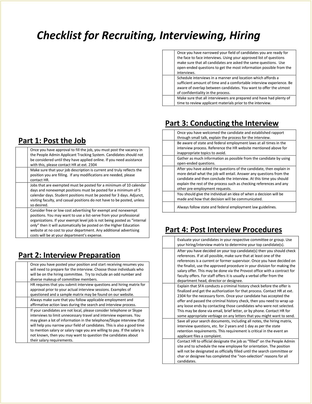 Checklist for Recruitment Template Form PDF