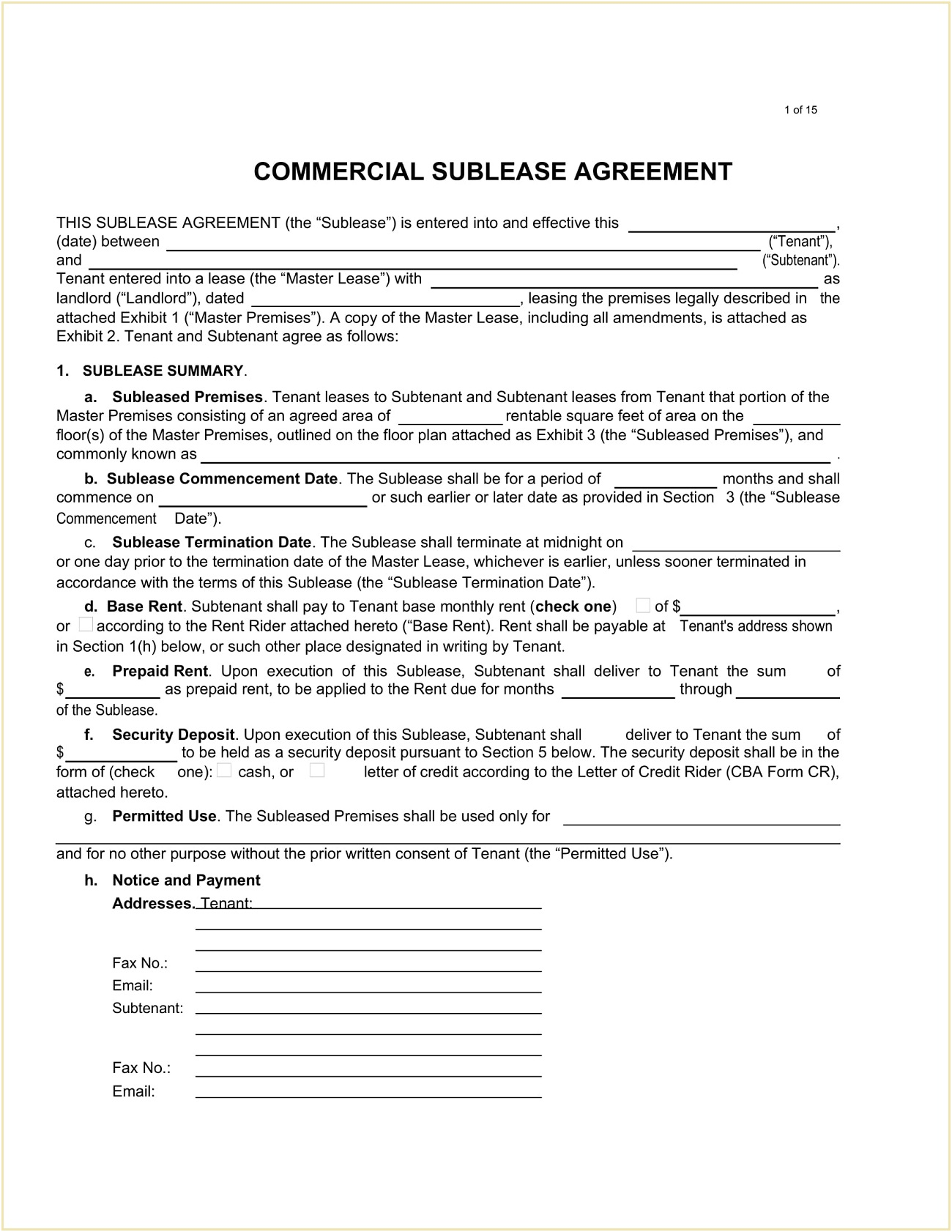 Commercial Sublease Agreement Form Word