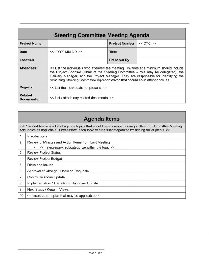 Committee Meeting Agenda w Estimated Time Agenda Committee Meeting Agenda Template Example