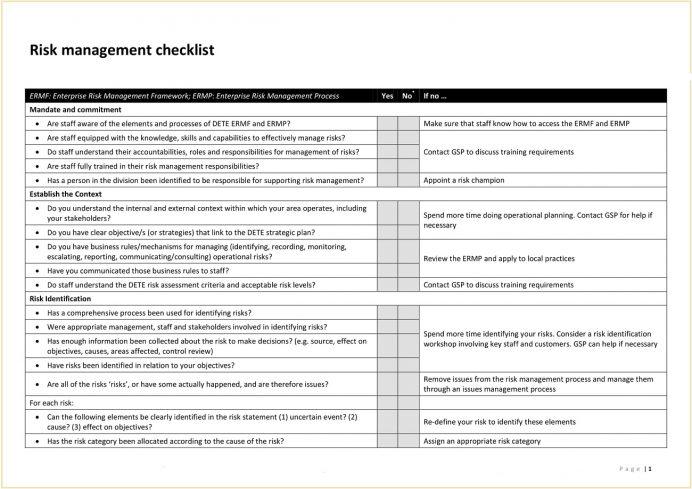 ERM Risk Management Checklist PDF Template Checklist Sample Risk Management Checklist Template