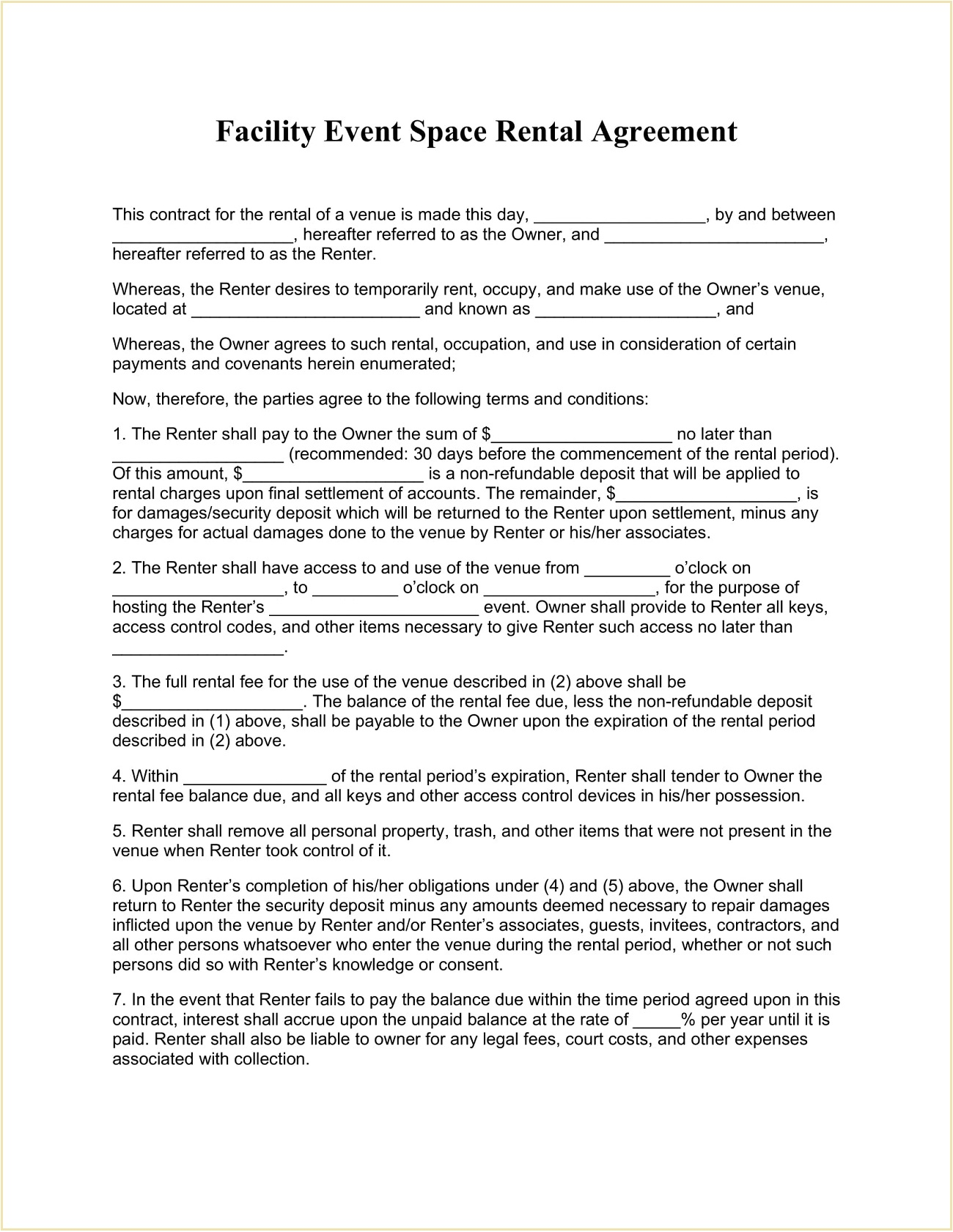 Facility Event Space Rental Agreement Template Form Word Doc