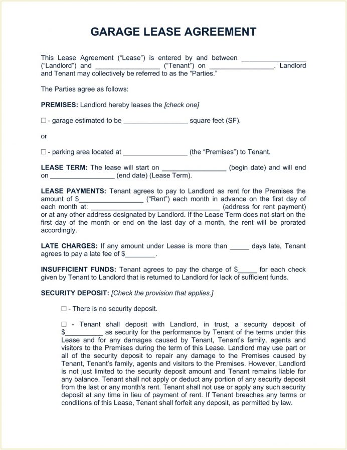 Garage Lease Agreement Template Word Doc Parking Space Free Car Park Rental Application Rv Tenant  (Parking)