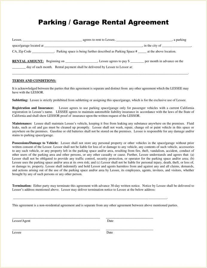 Garage Rental Agreement Form PDF Agreement Garage (Parking) Rental Lease Agreement Template
