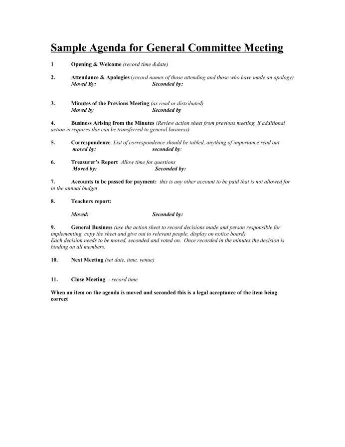General Committee Meeting Agenda Template Word Agenda Committee Meeting Agenda Template Example