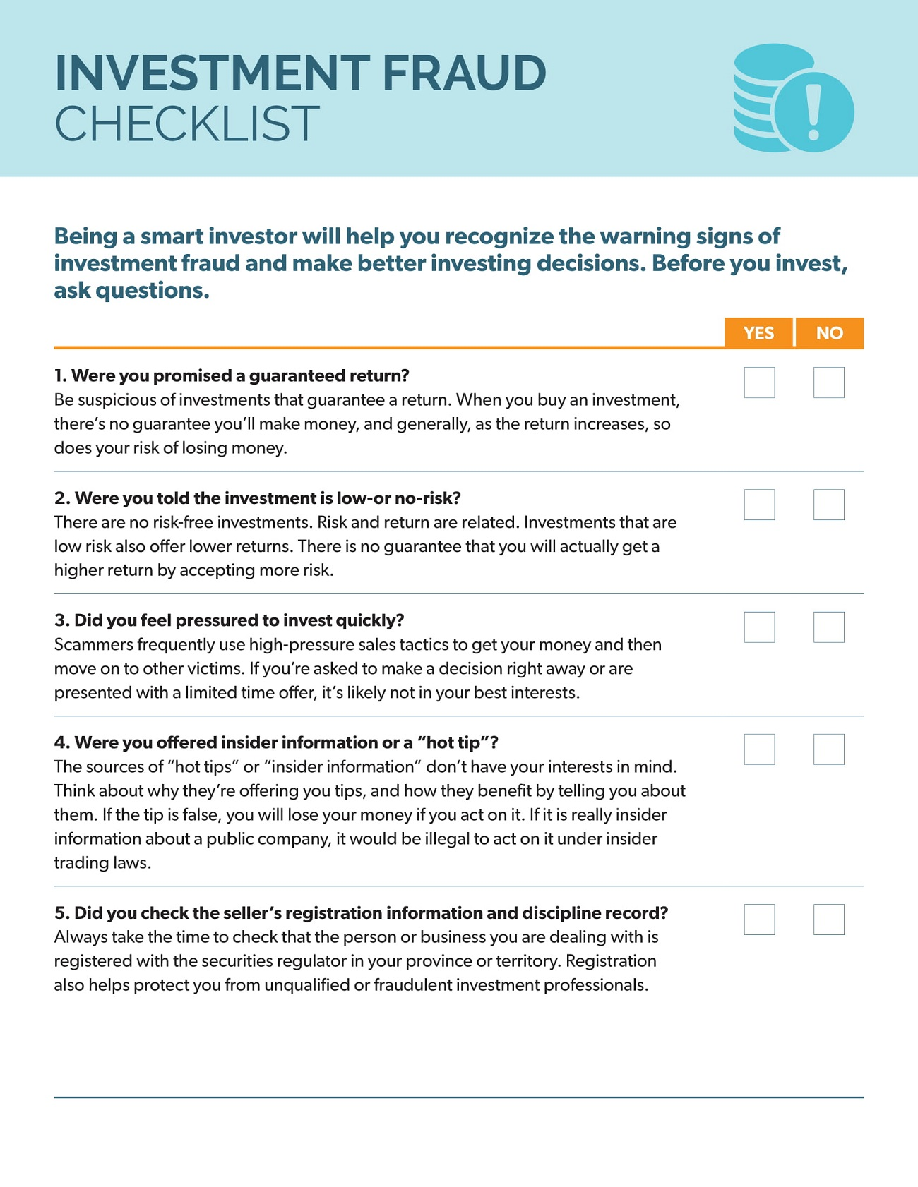 Investment Fraud Checklist PDF Template