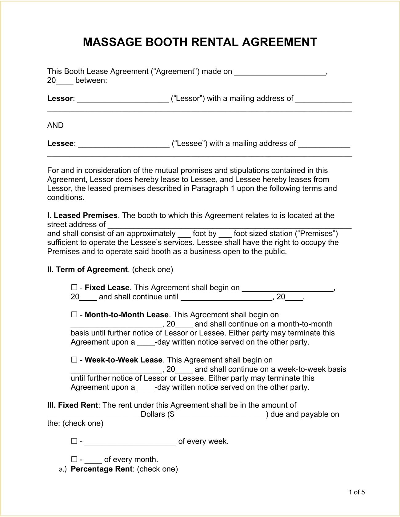 Massage Booth Rental Agreement Form Template Word