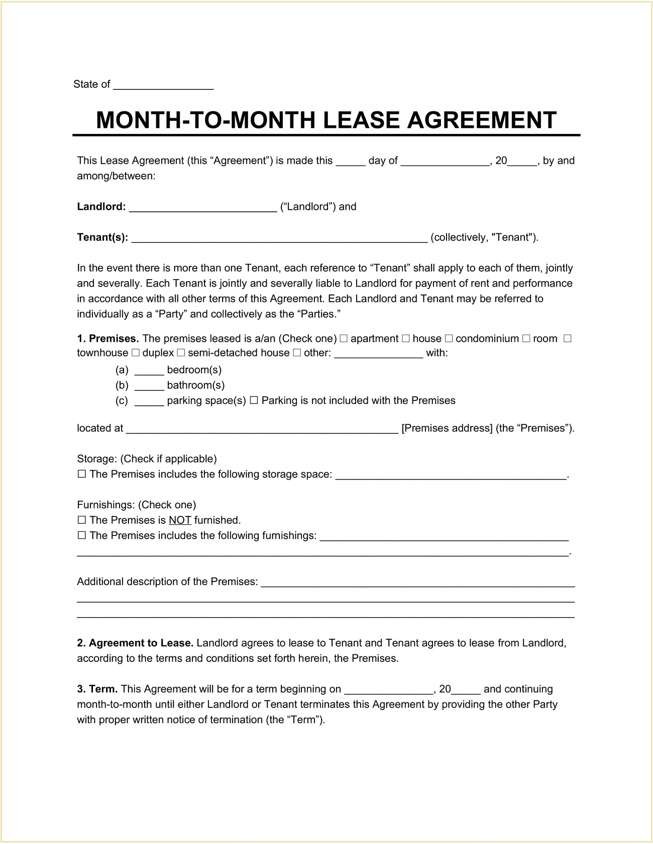 Month To Month Residential Lease Agreement Template Word