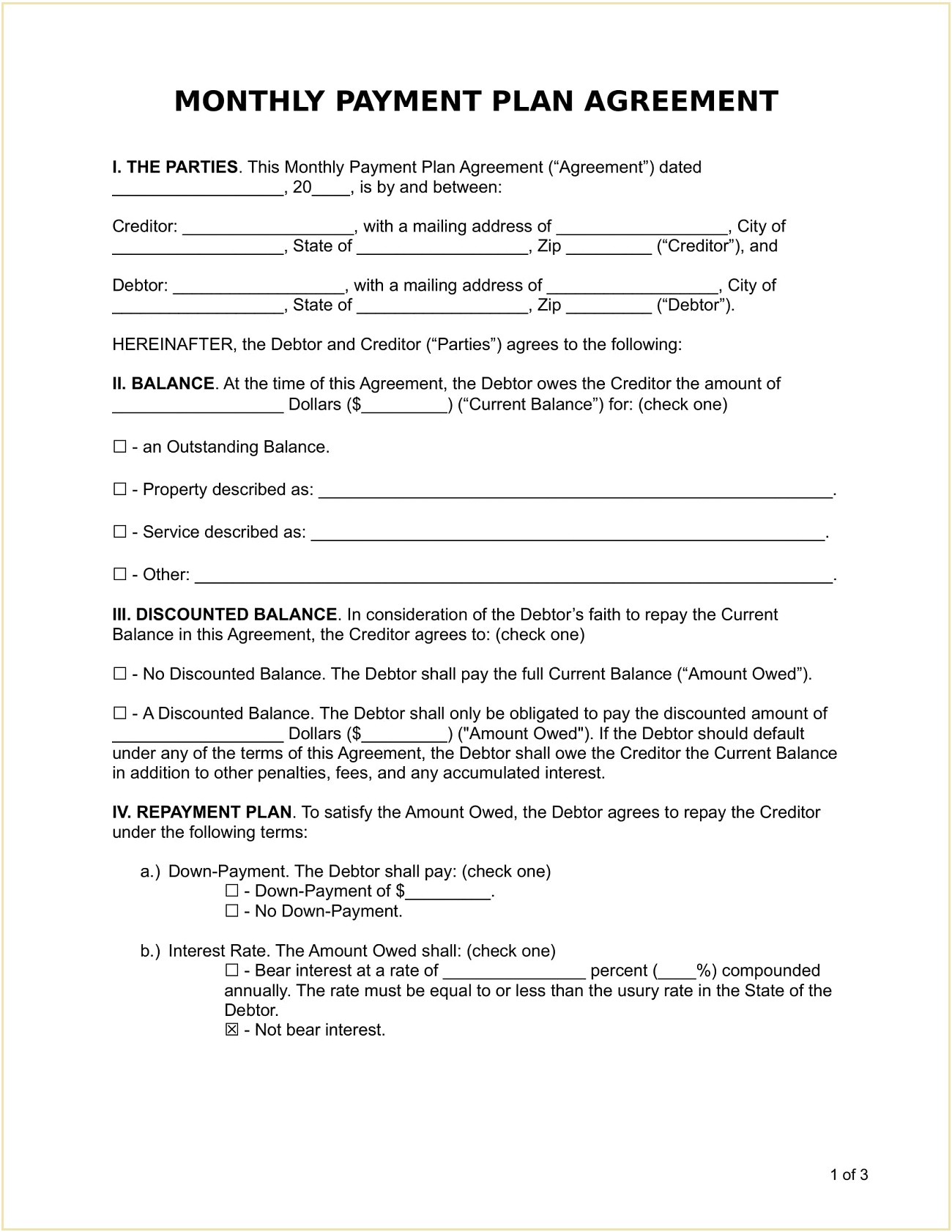 Monthly Recurring Payment Plan Agreement Form Template Word