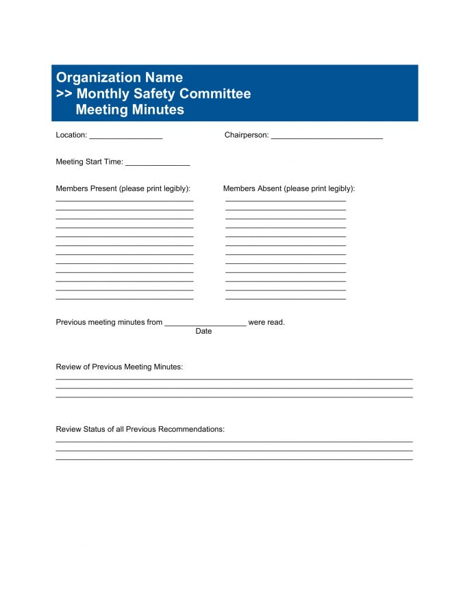 Monthly Safety Committee Meeting Agenda Template Word Agenda Committee Meeting Agenda Template Example