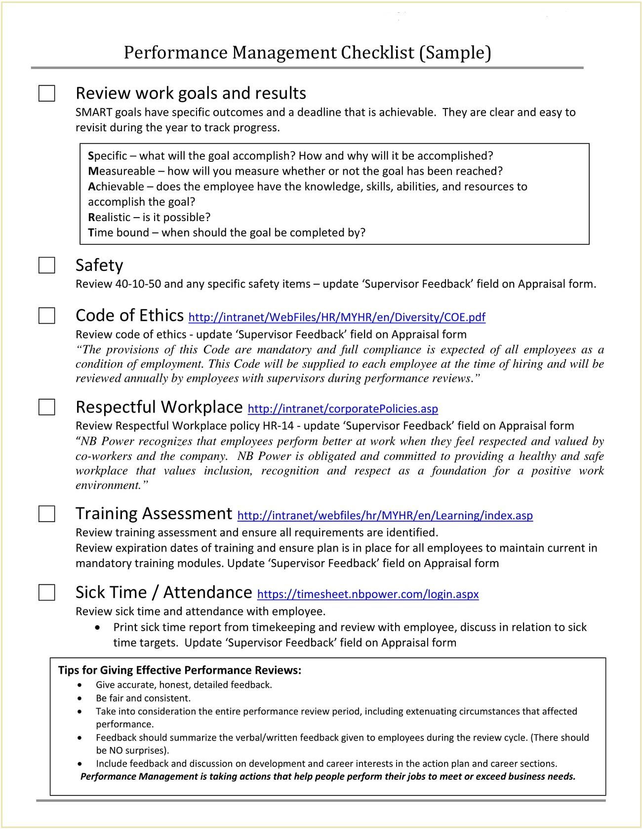 Performance Management Checklist Sample PDF