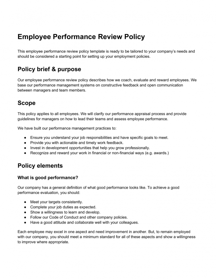Performance Review Sample Word Template Agenda Performance Review Agenda Template Sample