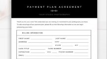 Photography Payment Plan Agreement Form PSD Agreement Sample Photography Payment Plan Agreement Template