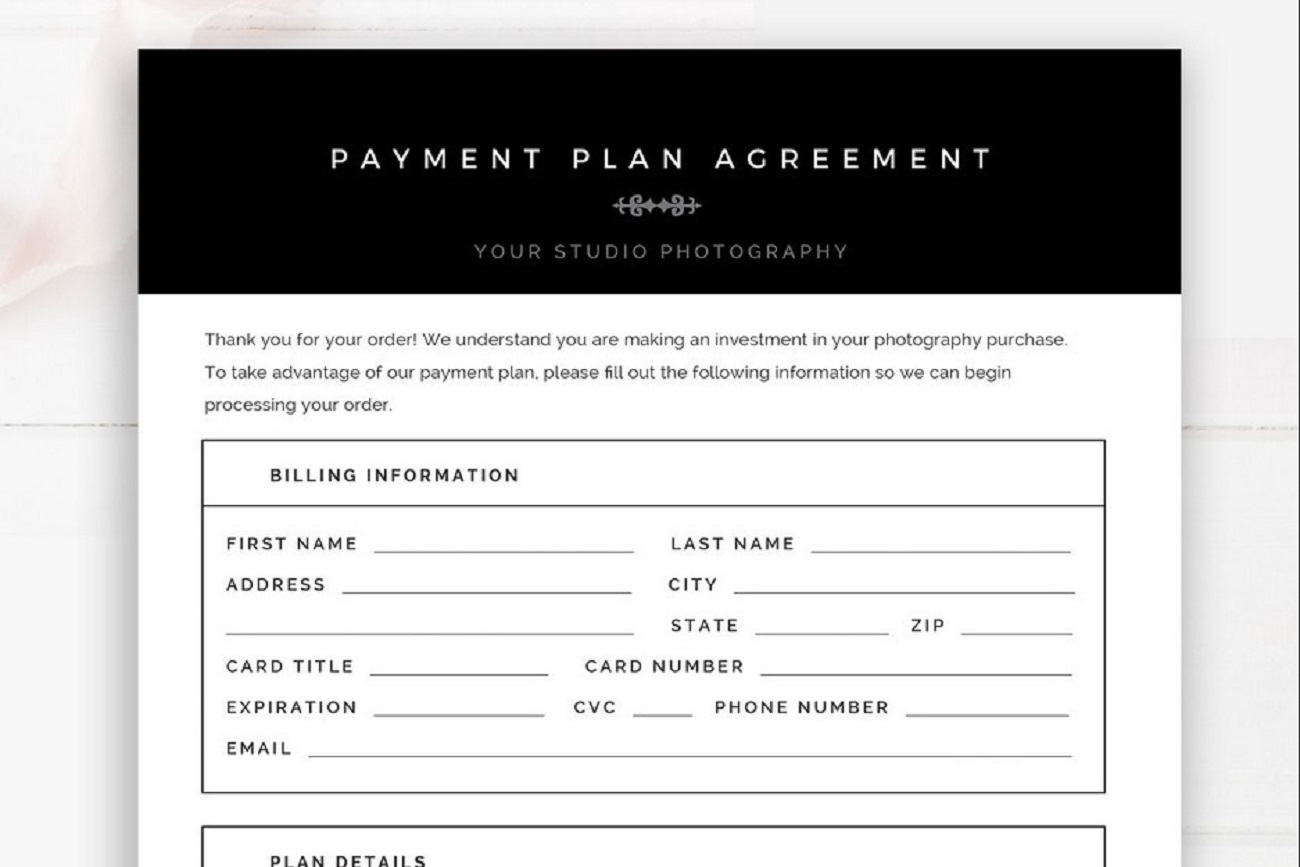 Photography Payment Plan Agreement Form PSD