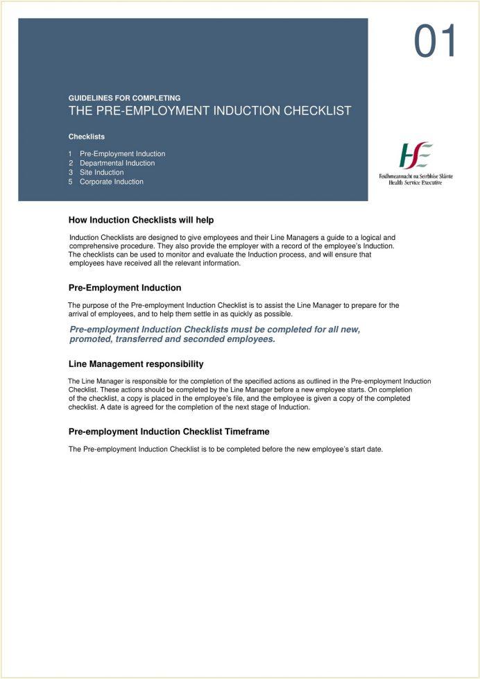 Pre-Employment Induction Checklist PDF Template Checklist Pre-Employment Checklist Template Sample