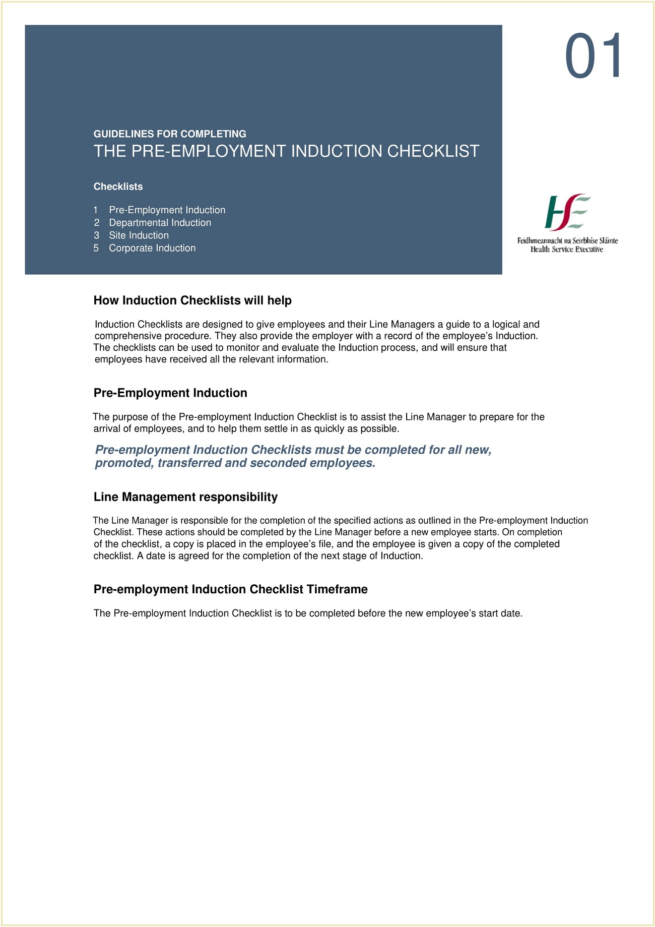 Pre-Employment Induction Checklist PDF Template