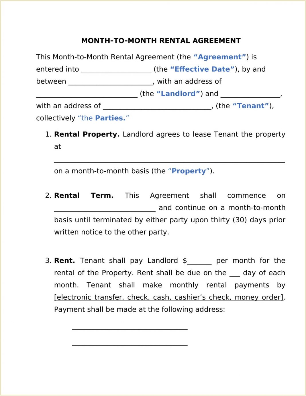Rental Month To Agreement Form Template Word How Fill Out A Month-to-month Lease Los Angeles Room 30 Day Notice Commercial  Month-to-Month Sample Large