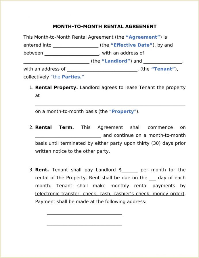 Rental Month To Agreement Form Template Word How Fill Out A Month-to-month Lease Los Angeles Room 30 Day Notice Commercial  Month-to-Month Sample
