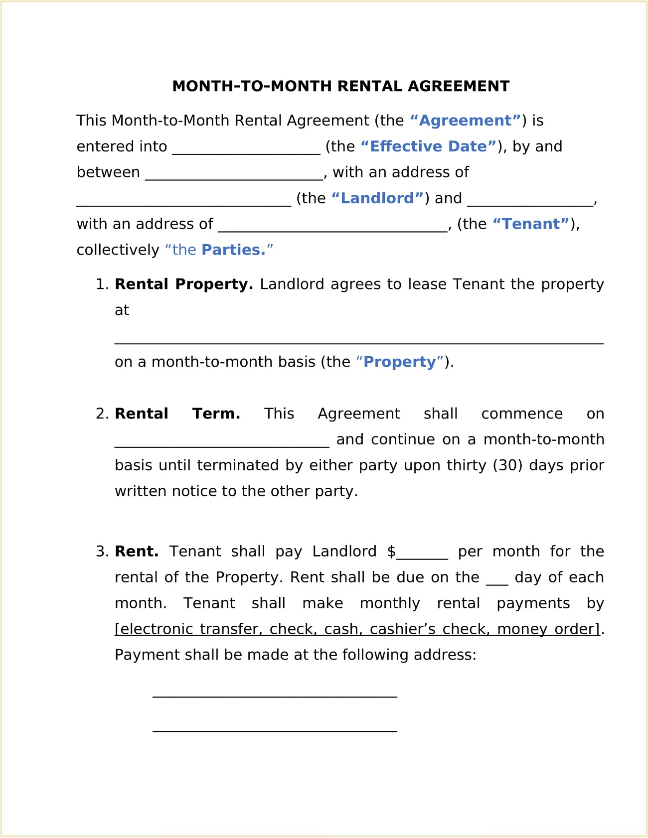 Rental Month to Month Agreement Form Template Word