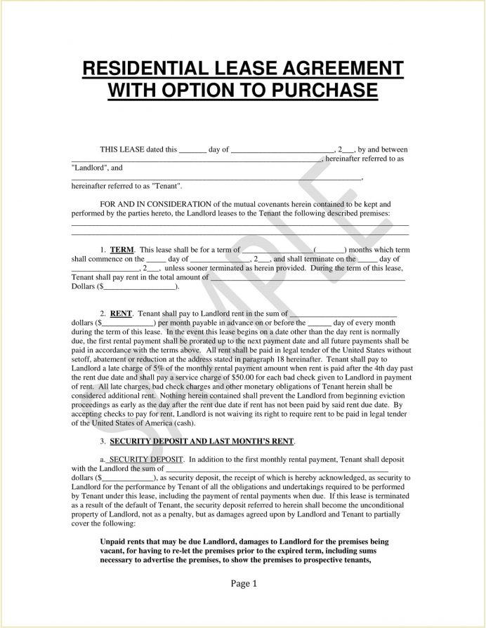 Residential Lease With Option To Purchase Agreement Form Template PDF Agreement Residential Lease with an Option to Purchase Agreement Template