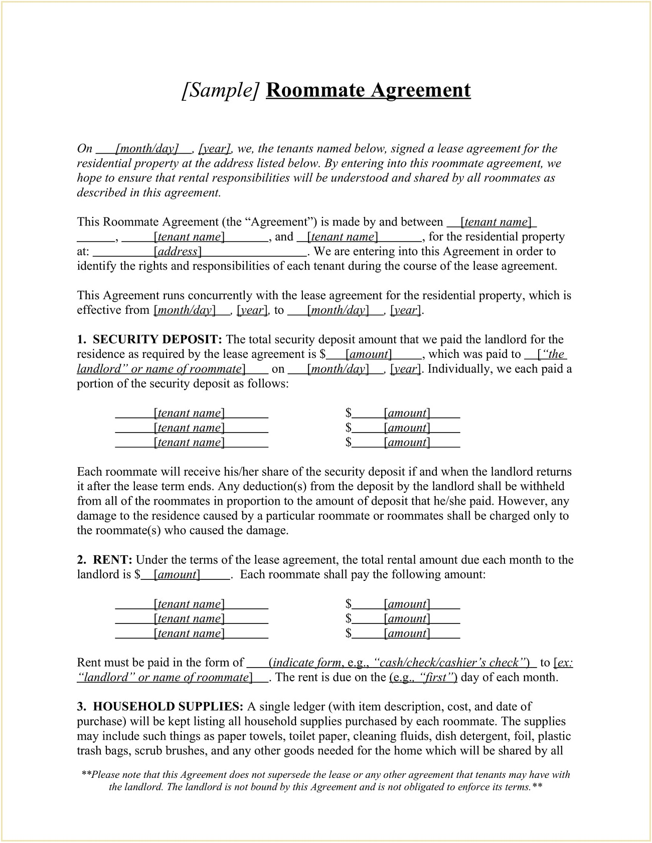 Roommate Joint Lease Agreement Form Template Word Doc