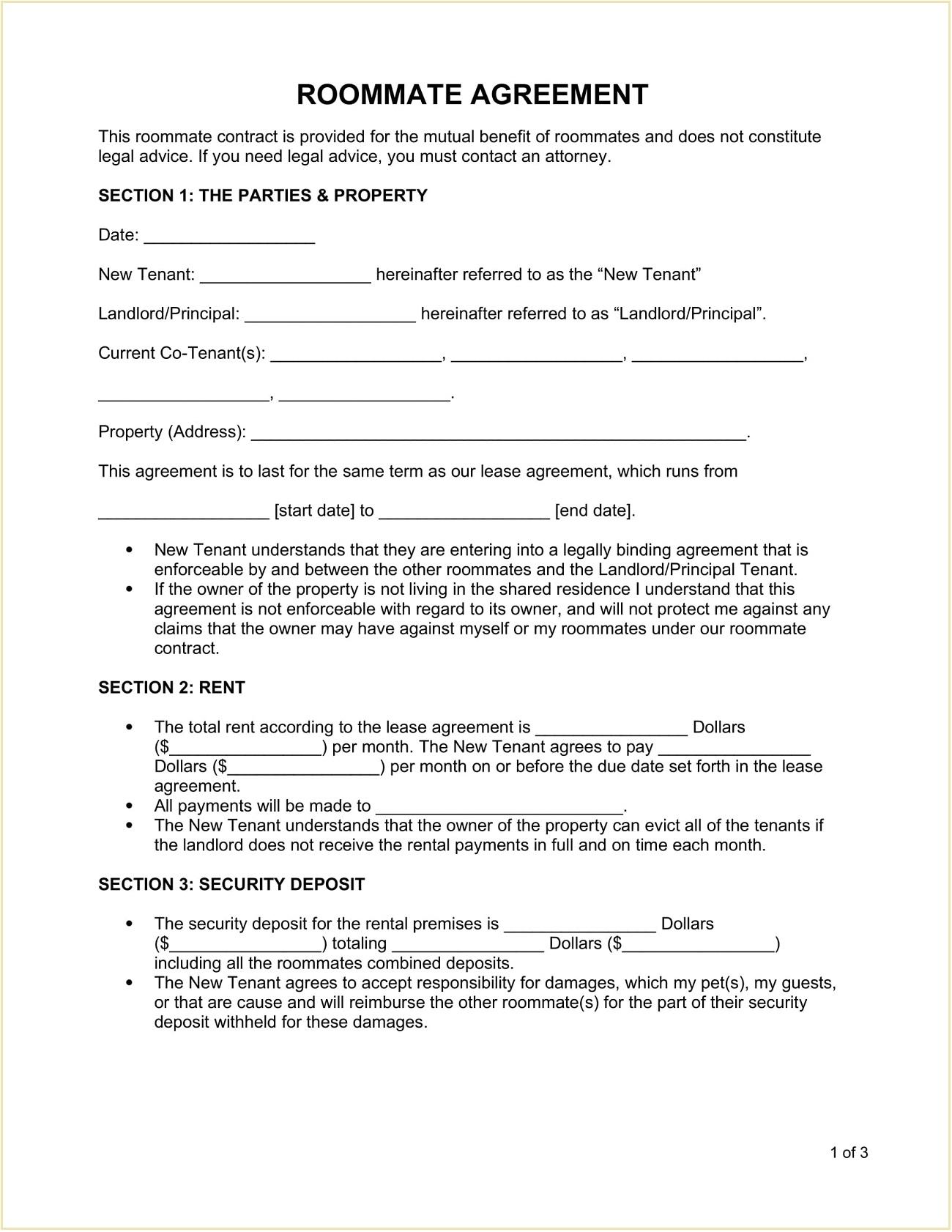 Roommate Room Rental Agreement Form Template Word