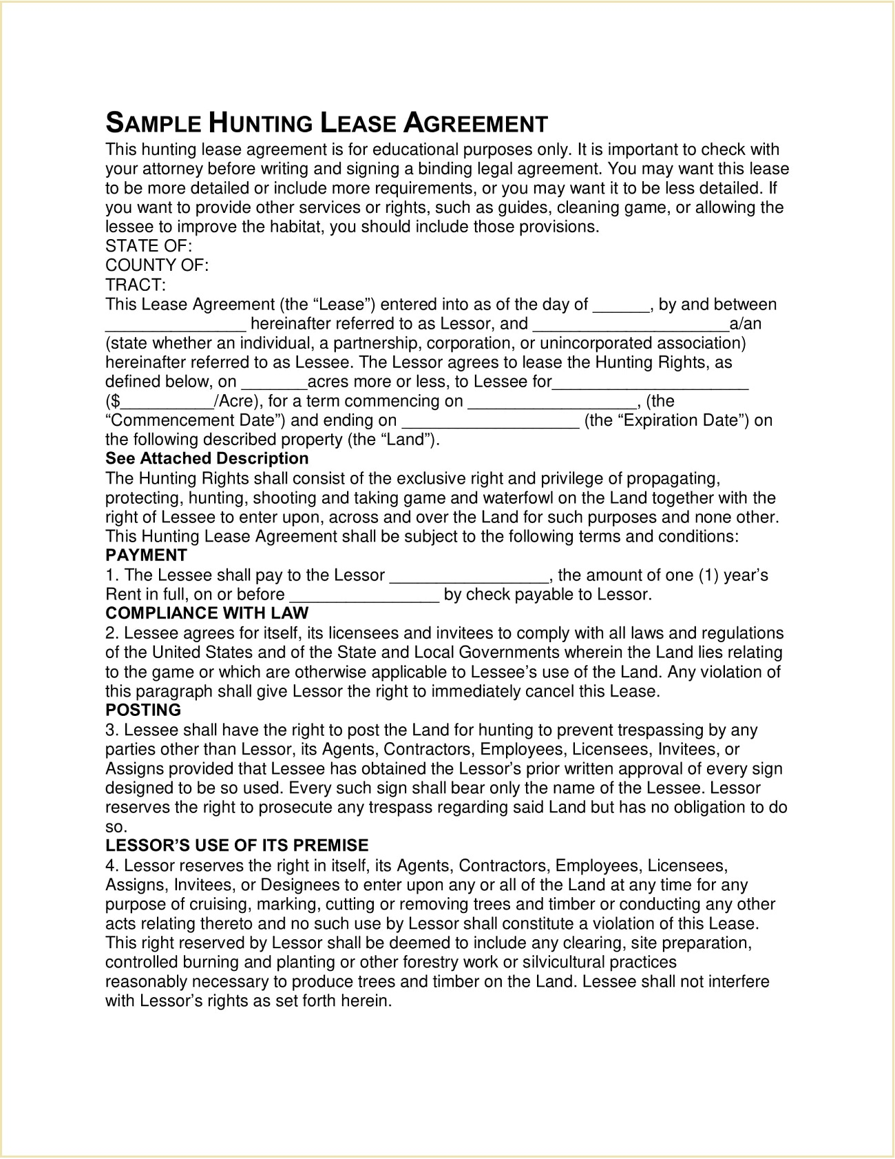 Sample Hunting Lease Agreement Template PDF