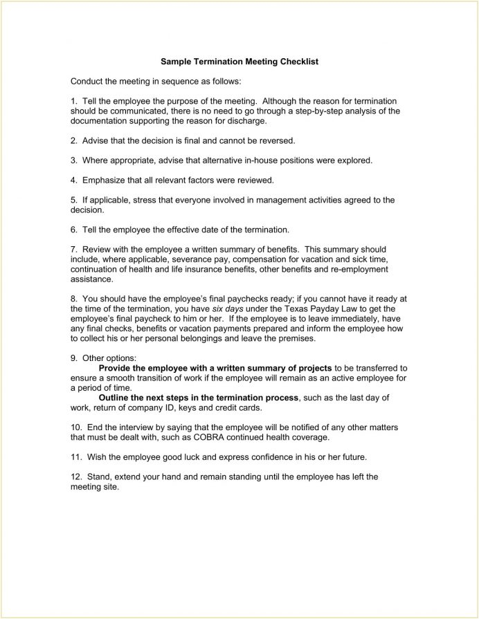 Sample Termination Meeting Checklist Template Word Checklist Example Termination Meeting Checklist Template