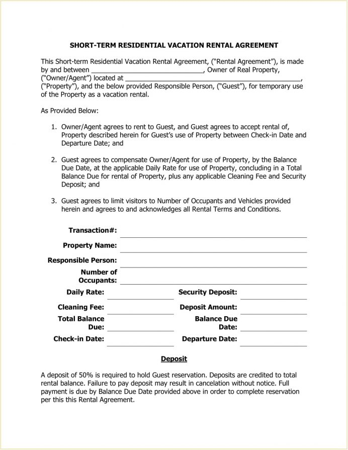 Short Term Residential Vacation Rental Agreement Template PDF Agreement Short-Term (Vacation) Rental Lease Agreement Template