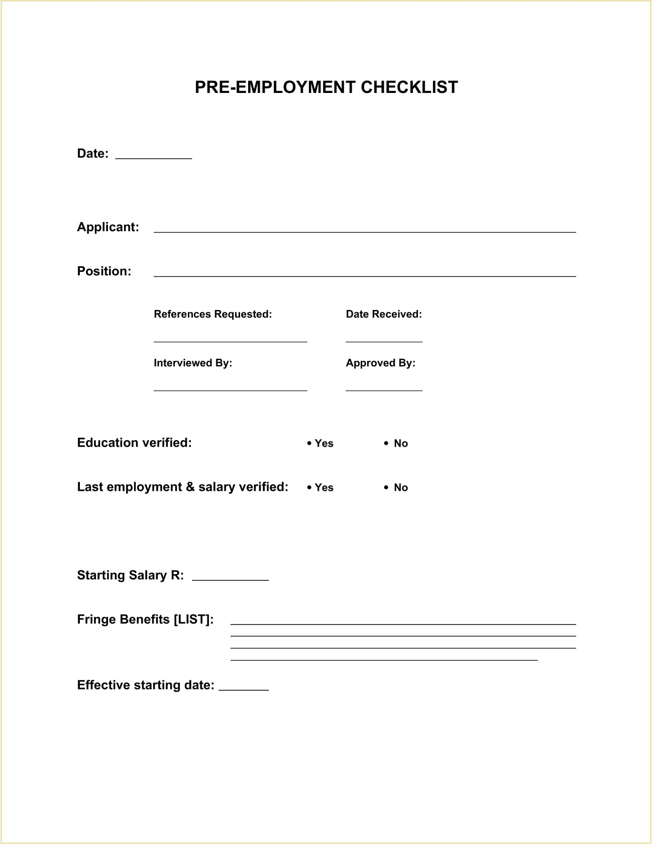 Simple Pre-Employment Checklist Word Template
