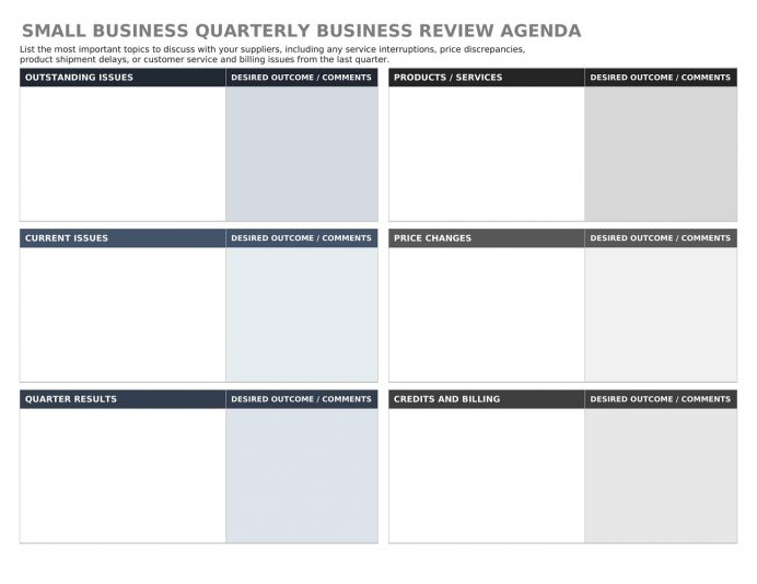 Small Business Quarterly Business Review Agenda Word Template Agenda Example Quarterly Business Review Agenda Template