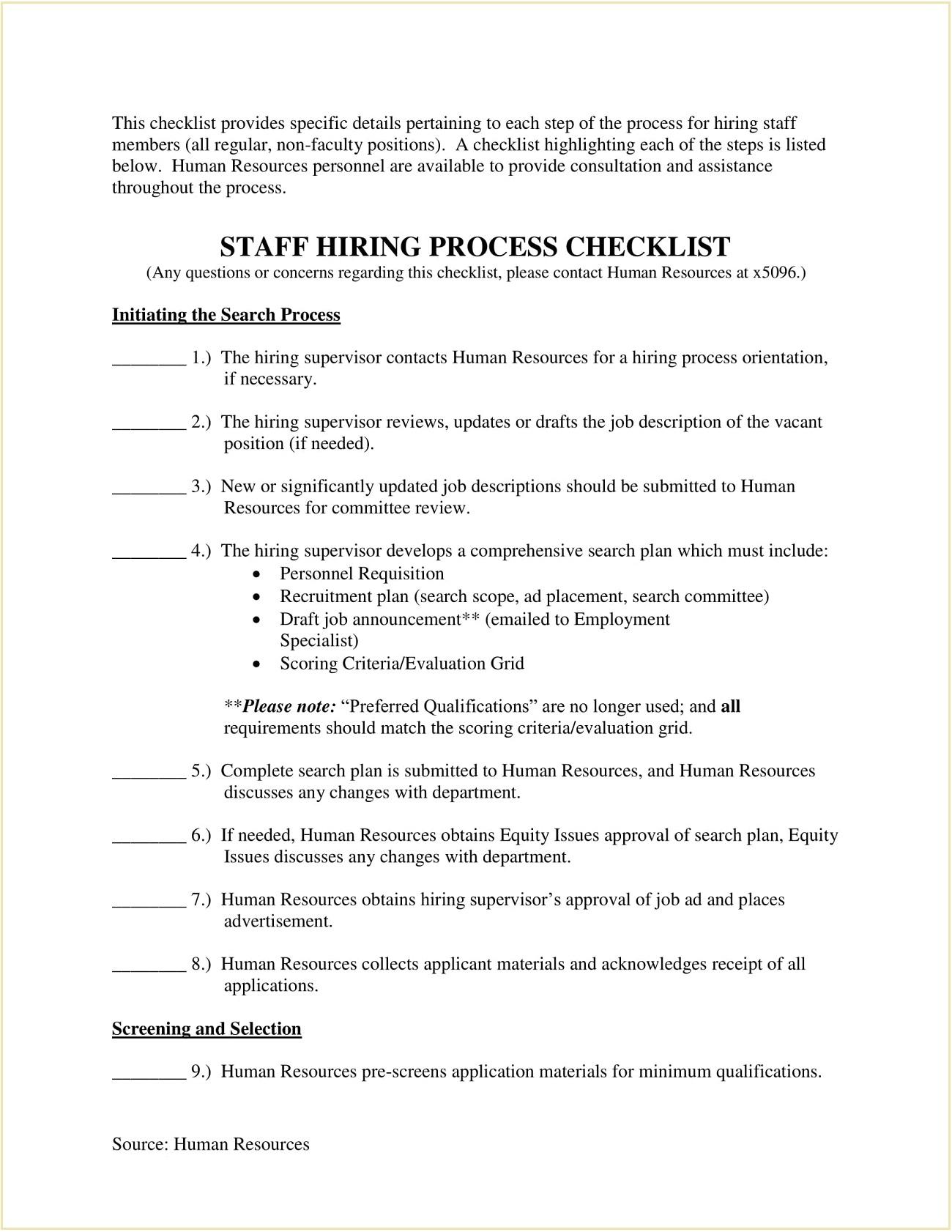 Staff Hiring Process Template PDF