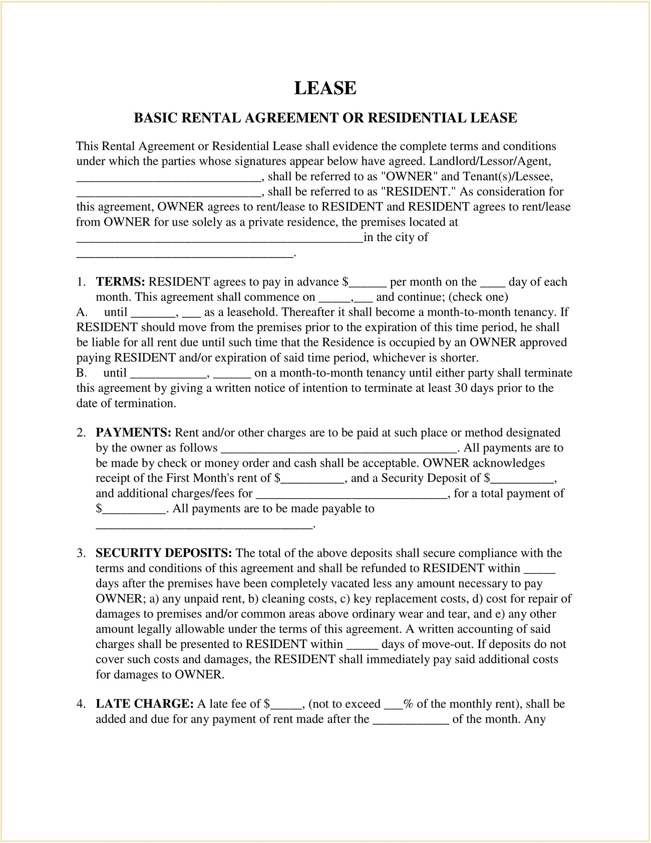 Standard House Rental Agreement Form Template PDF