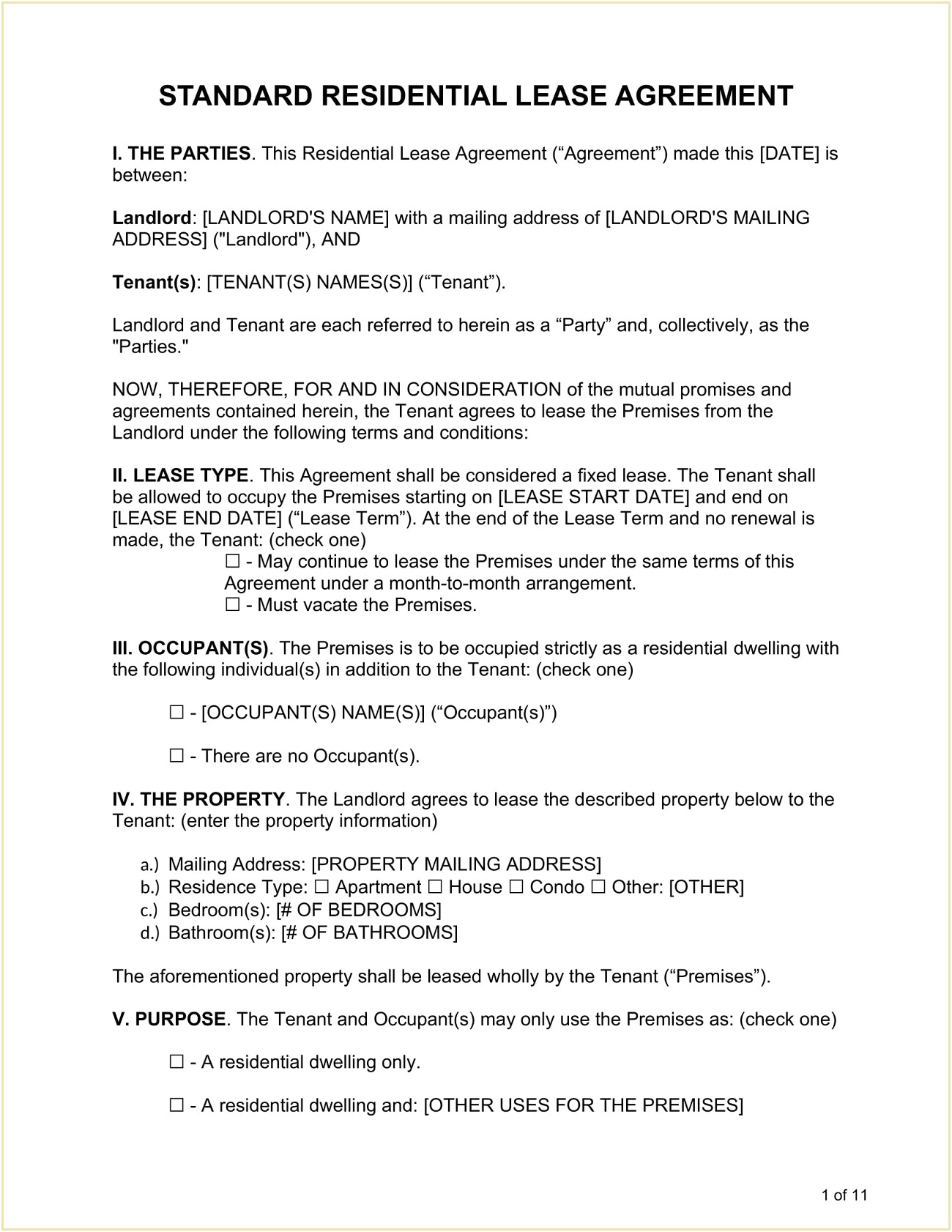 Standard Residential Lease Agreement Form Template PDF