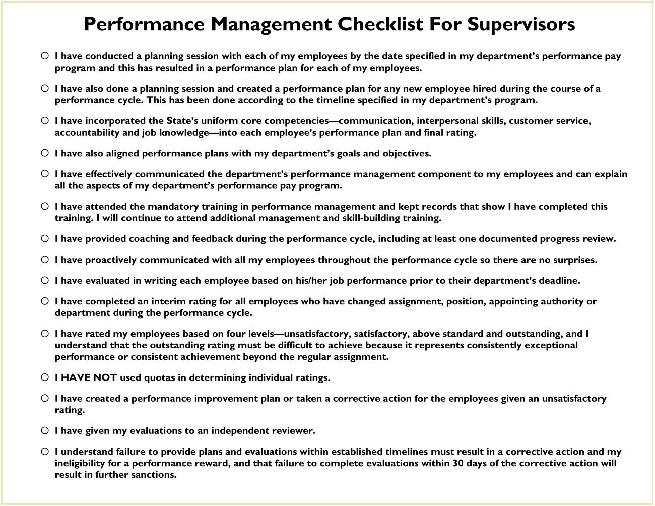 Supervisor Performance Management Checklist Template PDF