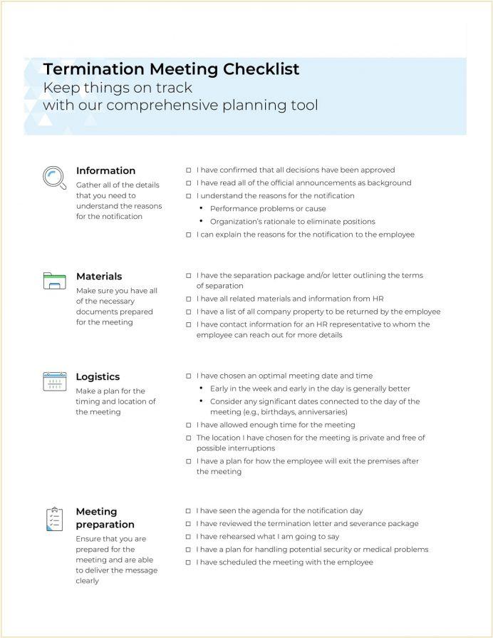 Termination Meeting Checklist Word Checklist Example Termination Meeting Checklist Template