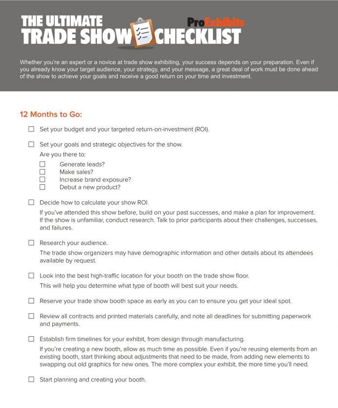Ultimate Trade Show Checklist Template PDF Checklist Sample Trade Show Checklist Template
