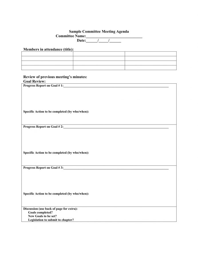 Weekly Committee Meeting Agenda PDF Template Agenda Committee Meeting Agenda Template Example