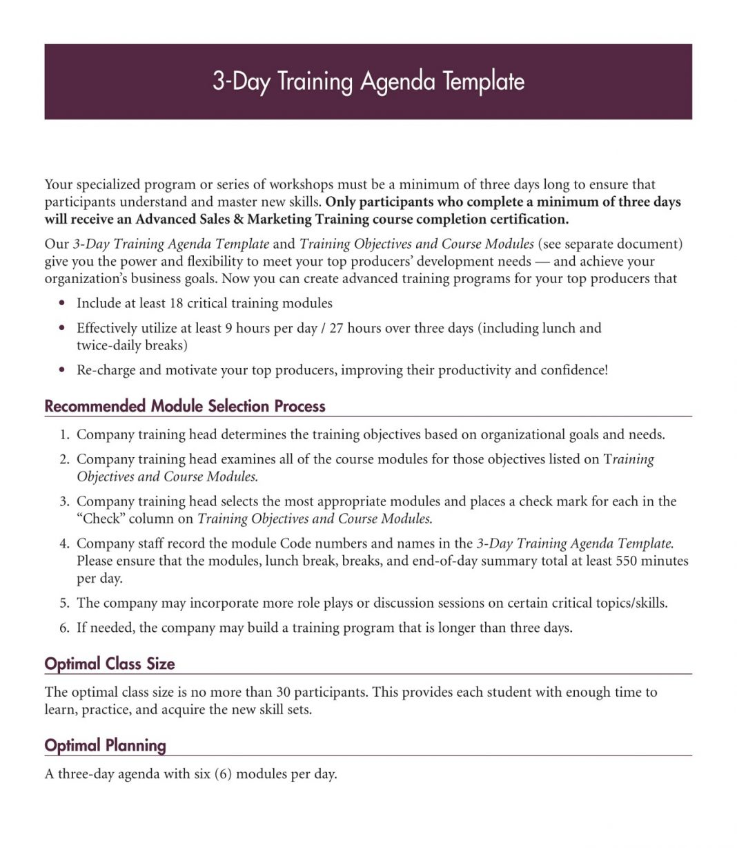 3 Day Training Agenda PDF Template Microsoft Word Ppt How To Create A Pdf Layout  Sample Large