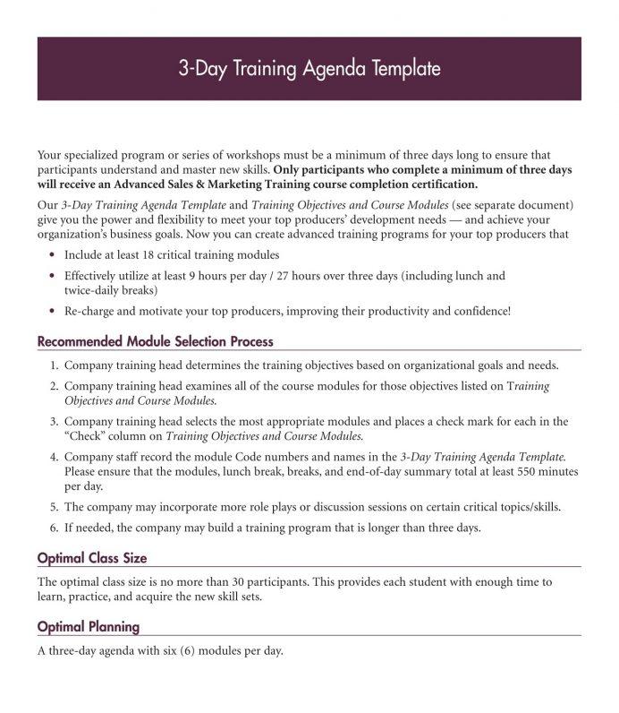 3 Day Training Agenda PDF Template Agenda Sample Training Agenda Template