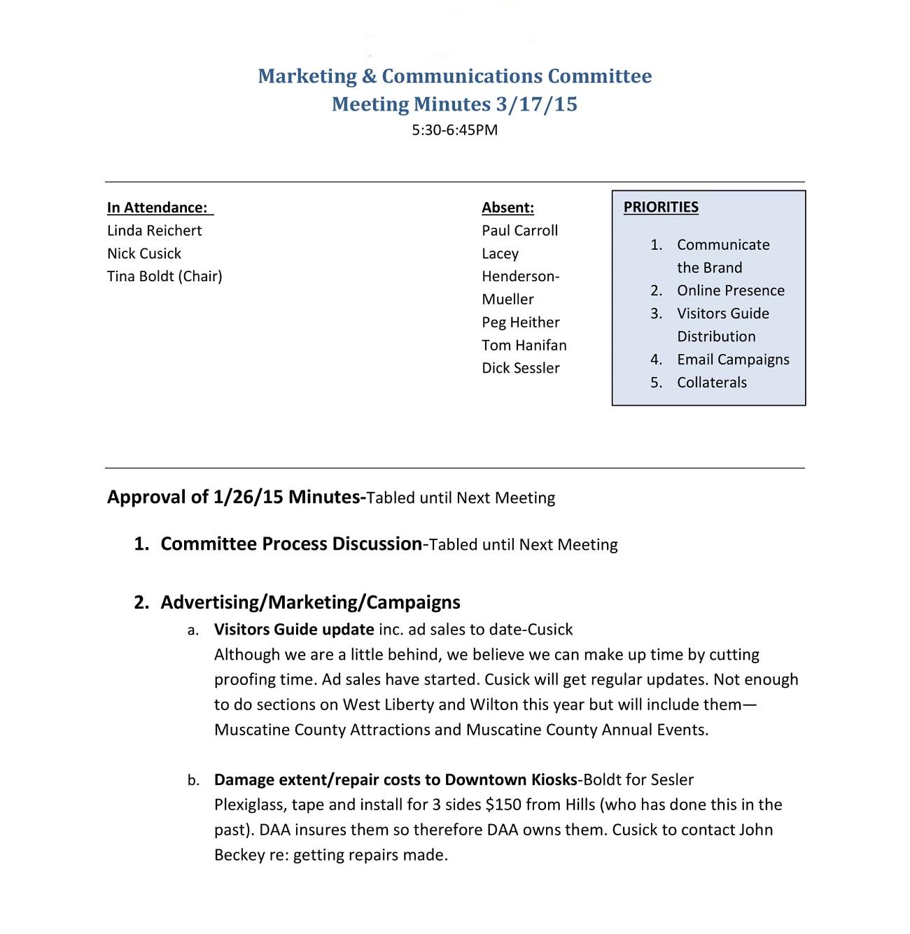 Basic Marketing Meeting Minutes Example Agenda Sample Content Social Media Template Of  Full