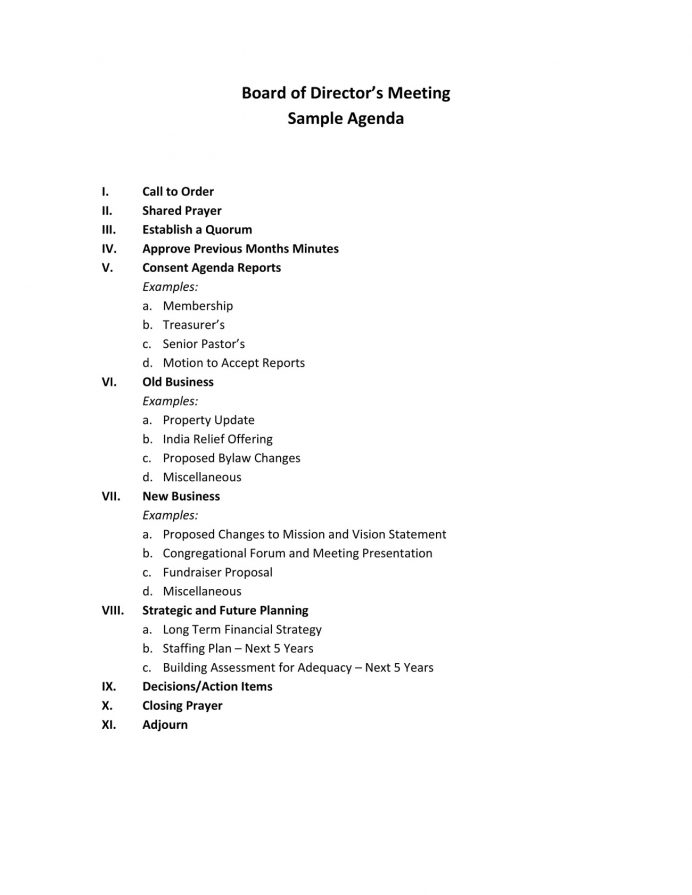 Board Director Church Meeting Agenda Agenda Sample Church Meeting Agenda Template