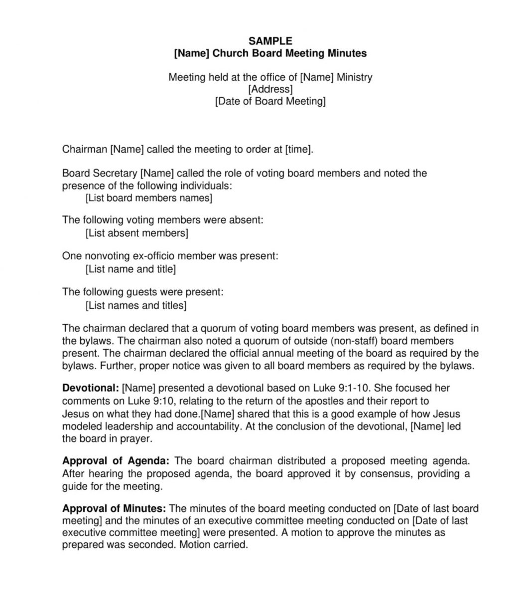 Church Board Minutes Sample Agenda Staff Meeting Format How To Write A End Of Year Leadership Pdf Preside Over  Template Large