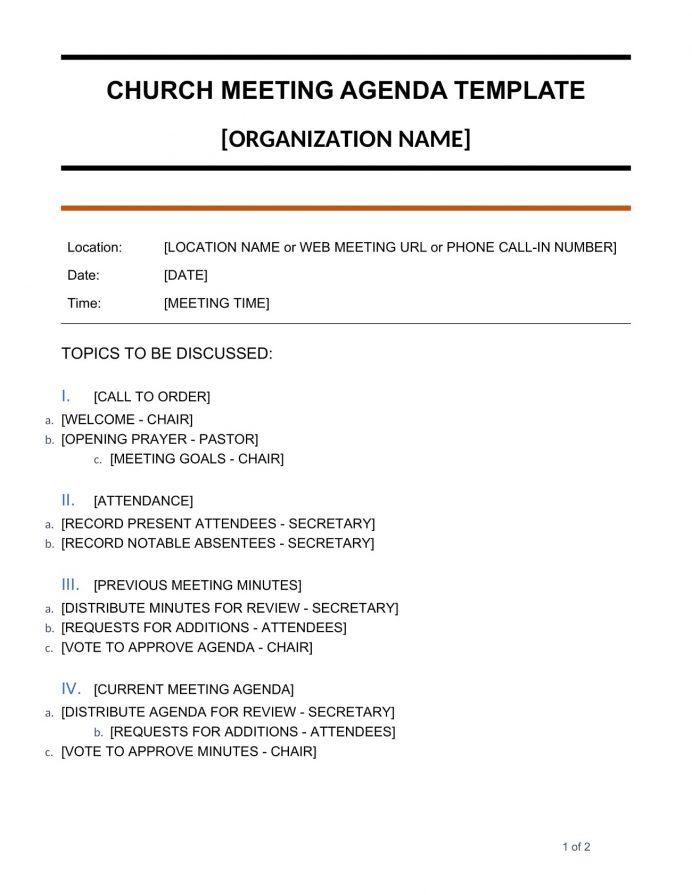 Church Meeting Agenda Doc Template Agenda Sample Church Meeting Agenda Template