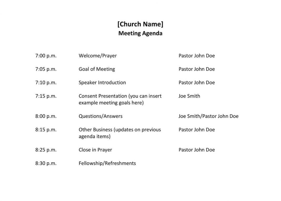 Church Meeting Agenda Sample Staff Format How To Write A End Of Year Leadership Pdf Preside Over  Template Large